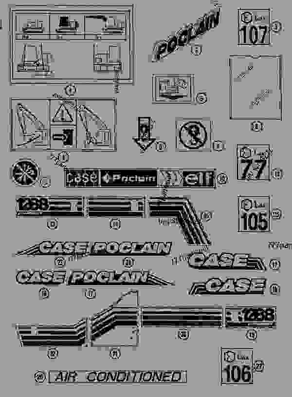 Parts scheme DECALS - CRAWLER EXCAVATORS Case 1288LC - CASE CRAWLER EXCAVATOR (S/N CGG0022201 & AFTER) (9/91-12/02) 09 CHASSIS DECALS | 777parts