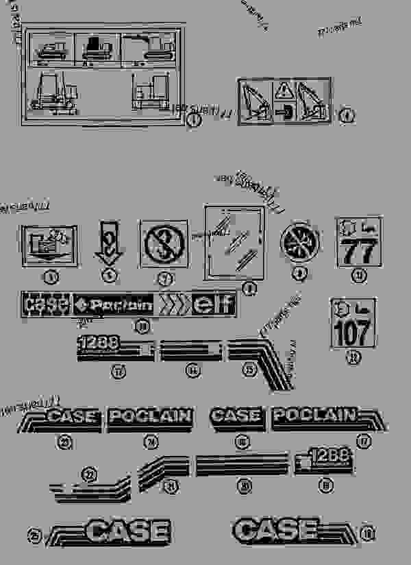 Parts scheme DECALS - CRAWLER EXCAVATORS Case 1288CK - CASE CRAWLER EXCAVATOR (S/N CGG0023701 & AFTER) (9/91-12/01) 09 CHASSIS DECALS | 777parts