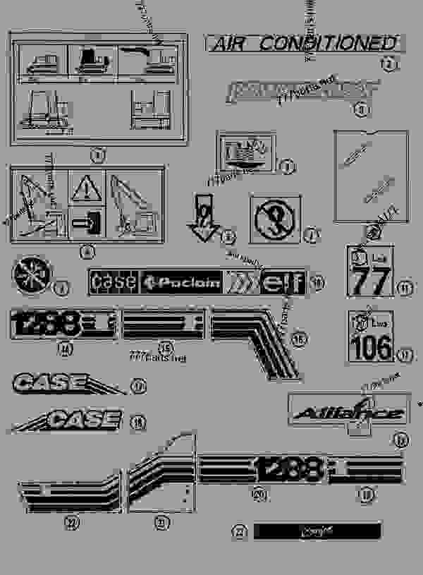 Parts scheme DECALS - CRAWLER EXCAVATORS Case 1288NLC - CASE CRAWLER EXCAVATOR (S/N CGG0117101 & AFTER) (3/93-12/02) 09 CHASSIS DECALS | 777parts