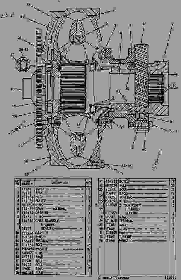 Parts scheme 1T1335 TORQUE CONVERTER GROUP  - EARTHMOVING COMPACTOR Caterpillar 825C - 825C COMPACTOR 86X00001-00730 (MACHINE) POWERED BY 3406 ENGINE POWER TRAIN-POWER TRANSMISSION UNIT | 777parts