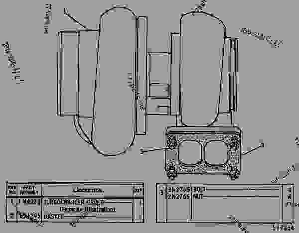 Parts scheme 1W1595 TURBOCHARGER GROUP TURBOCHARGER GROUP - EARTHMOVING COMPACTOR Caterpillar 825 - 825C COMPACTOR 86X00001-00730 (MACHINE) POWERED BY 3406 ENGINE AIR INLET AND EXHAUST SYSTEM | 777parts