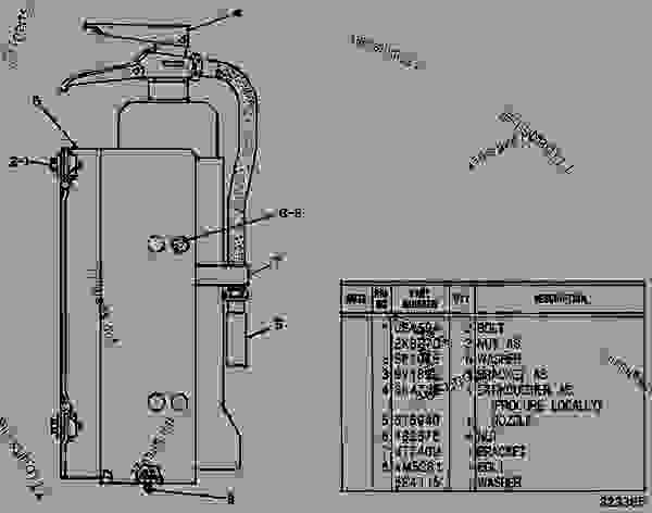 Parts scheme 9V0061 FIRE EXTINGUISHER GROUP   - EARTHMOVING COMPACTOR Caterpillar 825C - 825C COMPACTOR 86X00001-00730 (MACHINE) POWERED BY 3406 ENGINE SERVICE EQUIPMENT AND SUPPLIES | 777parts