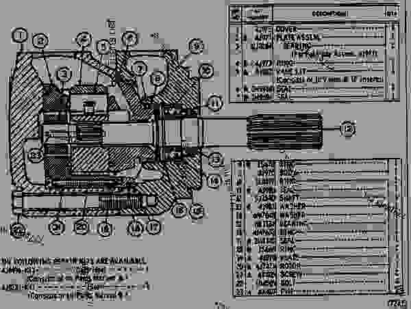 Parts scheme 5J1535 HYDRAULIC PUMP ASSEMBLY  - EARTHMOVING COMPACTOR Caterpillar 825 - 824 & 834 TRACTORS 824B, 825B, 834 & 835 COMPACTORS 826B LAN 93G00001-UP 824, 825, 826, 834 & 835 BULLDOZERS | 777parts