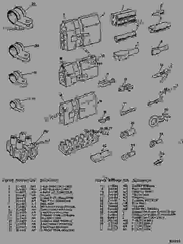 Parts scheme  ELECTRICAL TERMINALS, INSULATORS AND PLUGS  - ARTICULATED DUMP TRUCK Caterpillar D44B - D44B ARTICULATED DUMP TRUCK 8SD00001-UP (MACHINE) POWERED BY 3408 ENGINE ELECTRICAL SYSTEM | 777parts