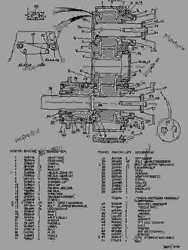 Parts scheme  SIX WHEEL DRIVE TRANSFER GEARBOX GROUP  - ARTICULATED DUMP TRUCK Caterpillar D550B - D550B ARTICULATED DUMP TRUCK 5ND00001-UP (MACHINE) POWERED BY 3408 ENGINE TRANSMISSION, DRIVE TRAIN, AXLES AND WHEELS | 777parts