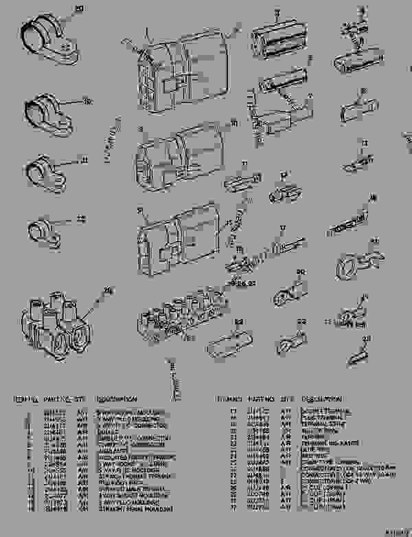 Parts scheme  ELECTRICAL TERMINALS, INSULATORS AND PLUGS  - ARTICULATED DUMP TRUCK Caterpillar D550B - D550B ARTICULATED DUMP TRUCK 5ND00001-UP (MACHINE) POWERED BY 3408 ENGINE STARTING AND ELECTRICAL SYSTEM | 777parts