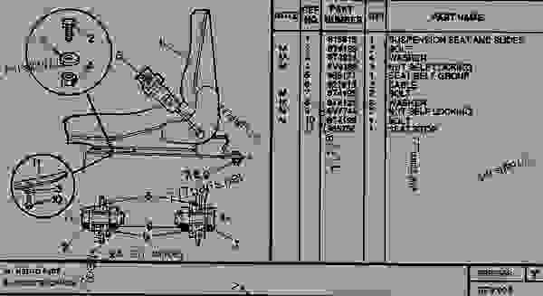 Parts scheme 0897568 SUSPENSION SEAT GROUP   - TELEHANDLER Caterpillar RT50SA - RT50, RT50 SA, RTC60, RT60 TELESCOPIC MATERIALS HANDLER 8DJ00001-UP (MACHINE) POWERED BY 4.236 DIESEL ENGINE CAB | 777parts