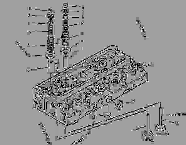Parts scheme 6I0269 CYLINDER HEAD GROUP   - ENGINE - GENERATOR SET Caterpillar 3054 - 3054 Generator Set Engine 4ZK00001-UP BASIC ENGINE | 777parts