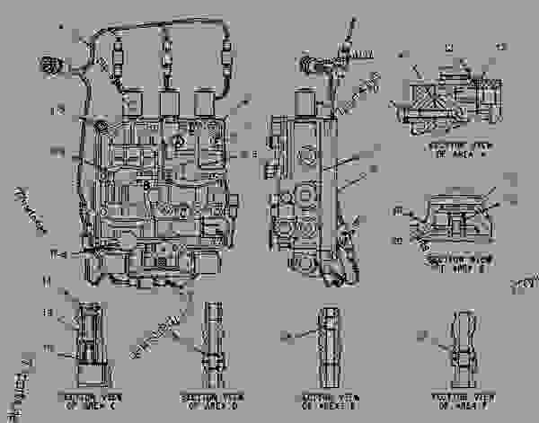 Parts scheme 7T9406 VALVE GROUP-TRANSMISSION CONTROL   - BACKHOE LOADER Caterpillar 446B - 446B Backhoe Loader 5BL00001-02499 (MACHINE) POWERED BY 3114 Engine POWER TRAIN | 777parts