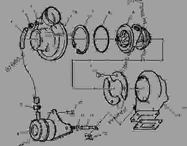 Parts scheme 1416163 TURBOCHARGER GROUP   - ASPHALT PAVER Caterpillar BG-225C - CATERPILLAR AP-650B, BARBER-GREENE BG-225C Asphalt Pavers 5GN00001-UP (MACHINE) POWERED BY 3054 Engine AIR INLET AND EXHAUST SYSTEM | 777parts