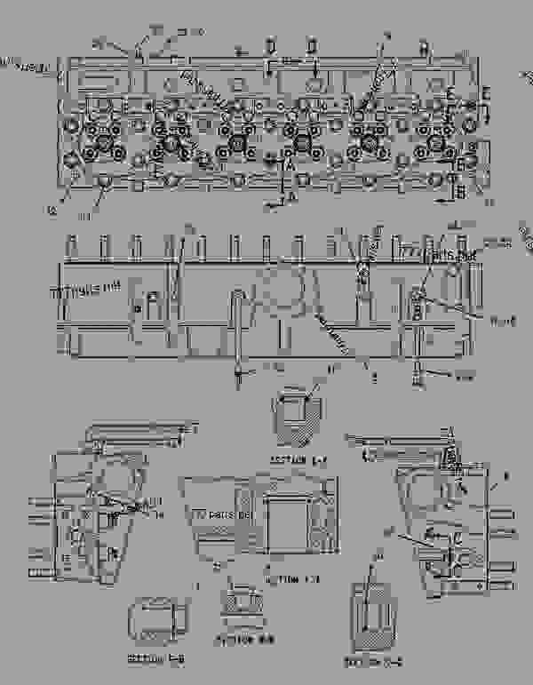 Parts scheme 1834792 CYLINDER HEAD GROUP   - EARTHMOVING COMPACTOR Caterpillar 836G - 836G Landfill Compactor 3456 Engine 7MZ00001-UP (MACHINE) BASIC ENGINE | 777parts