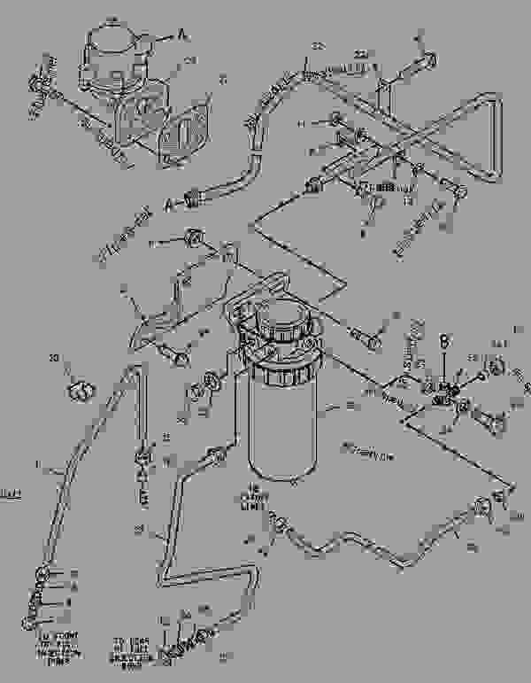 Parts scheme 1600148 FILTER & LINES GROUP-FUEL   - BACKHOE LOADER Caterpillar 416C - 416C Backhoe Loader Center Pivot, Single Tilt 4ZN00001-16043 (MACHINE) POWERED BY 3054 Engine FUEL SYSTEM | 777parts
