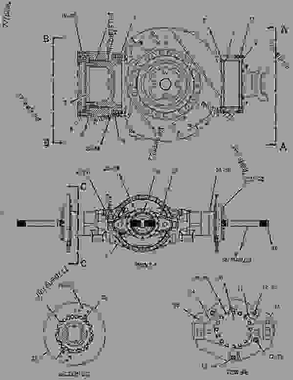 Parts scheme 1482343 AXLE AR-OSCILLATING  -REAR - EARTHMOVING COMPACTOR Caterpillar 836G - 836G Landfill Compactor 3456 Engine 7MZ00001-UP (MACHINE) POWER TRAIN | 777parts
