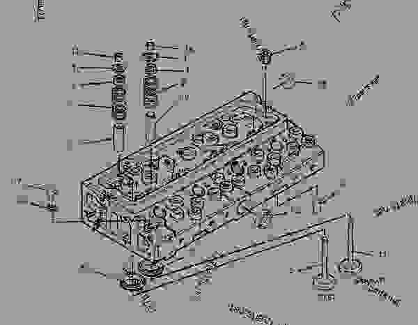 Parts scheme 1639254 CYLINDER HEAD GROUP   - BACKHOE LOADER Caterpillar 426C - 426C Backhoe Loader Center Pivot, Parallel Lift 1NR00001-00953 (MACHINE) POWERED BY 3054 Engine BASIC ENGINE | 777parts