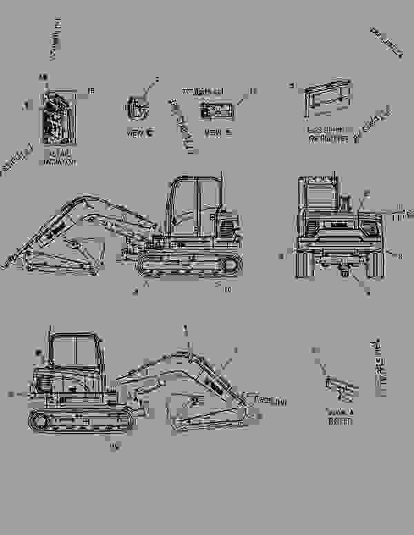 Parts scheme DECAL - EXTERIOR(EXPORT) - EXCAVATOR Doosan E80 - OTHER PARTS | 777parts