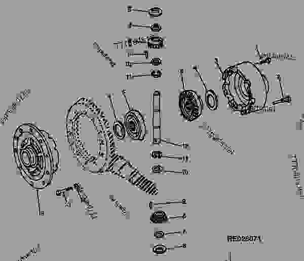 Parts scheme STANDARD DIFFERENTIAL (RE44186) (OC-1) (OSCILLATING) (NON-OSCILLATING) - LOADER Hitachi LXD100 - LXD100 and LXD120 Loaders (Hitachi) AXLES AND SUSPENSION SYSTEMS     2 DIFFERENTIAL OR BEVEL DRIVE  0210 | 777parts