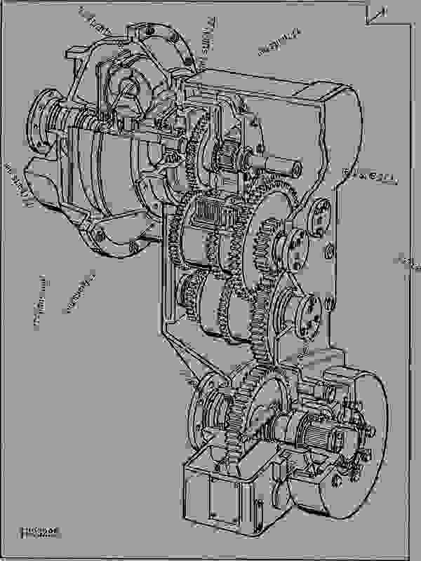 Parts scheme TRANSMISSION (LXD100) - LOADER Hitachi LXD100 - LXD100 and LXD120 Loaders (Hitachi) TRANSMISSION     3 GEAR, SHAFTS, BEARINGS AND POWER SHIFT CLUTCH  0350 | 777parts