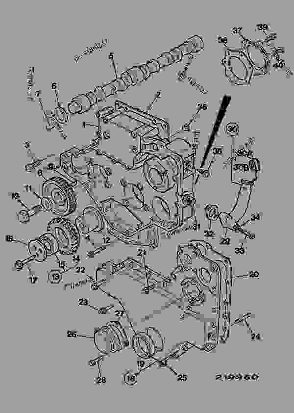 Parts scheme TIMING CASE, CAMSHAFT & GEARS, AA & AC BUILDS - CONSTRUCTION JCB .3CX-4 France - REGULAR BACKHOE LOADER (WORLDWIDE), 9802/8550, M337001- ENGINES 1000 SERIES 4-4 & 4-4T ENGINE, BLOCK & SUB-ASSEMBLIES TIMING CASE, CAMSHAFT & GEARS, AA & AC BUILDS | 777parts