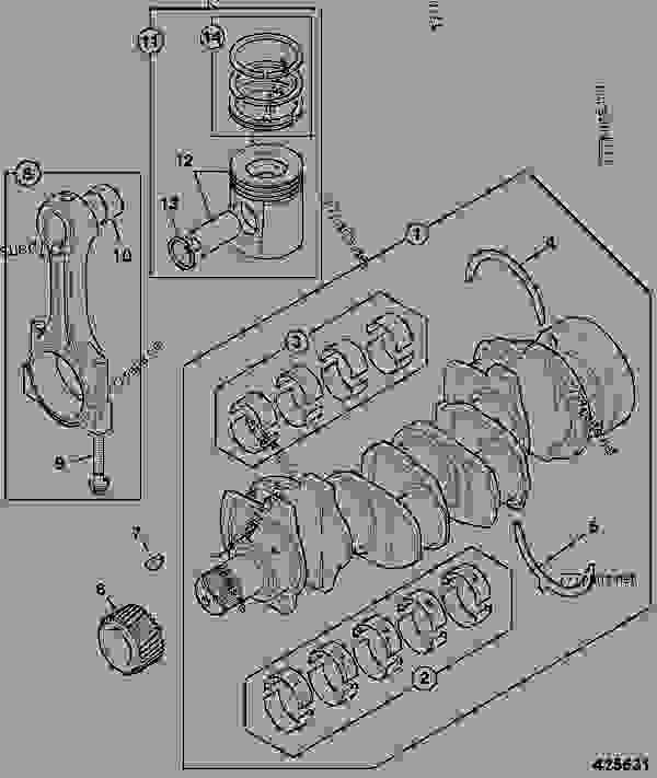 Parts scheme CRANKSHAFT, BEARINGS, PISTONS & CON-RODS, RG BUILD - CONSTRUCTION JCB 214e/3C 14-T2 - ECONOMY BACKHOE LOADER (BRAZIL BUILDS), 9802/8720, M1000500- ENGINES 1104C-44/1104C-44T RE, & RG BUILDS TIER 2 ENGINE BLOCK & SUB-ASSEMBLIES CRANKSHAFT, BEARINGS, PISTONS & CON-RODS, RG BUILD | 777parts