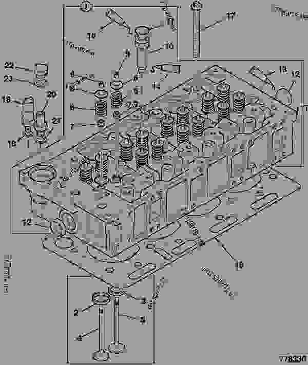 Parts scheme CYLINDER HEAD, ASSEMBLY, TC - OEM DIESELMAX JCB 320/40024 - JCB444 4 CYLINDER ENGINE PARTS CATALOGUE, 9802/2940 ENGINE 4 CYLINDER TURBOCHARGED CYLINDER HEAD CYLINDER HEAD, ASSEMBLY, TC | 777parts