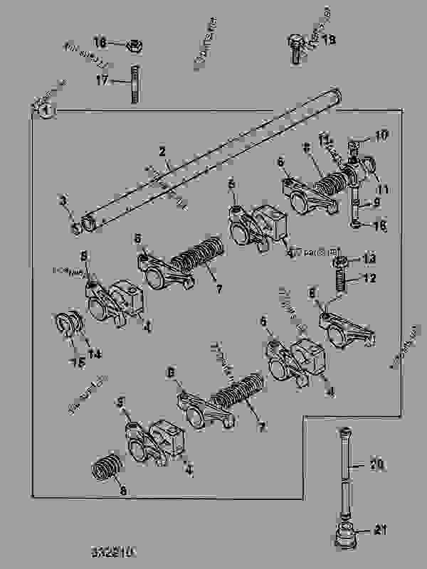 Parts scheme ROCKER ASSEMBLY, PUSH RODS & TAPPETS, AR BUILDS - CONSTRUCTION JCB 214Se - ECONOMY BACKHOE LOADER, 9802/9740, M477052- ENGINES 1004-4 LOW EMISSION, AR & AK BUILDS CYLINDER HEAD & SUB-ASSEMBLIES ROCKER ASSEMBLY, PUSH RODS & TAPPETS, AR BUILDS | 777parts