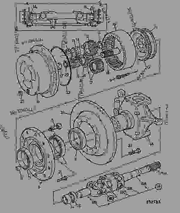 Parts scheme HUB & COMPONENTS - CONSTRUCTION JCB CONTRACTOR 150T - FASTRAC & CONTRACTOR, 9802/6600, M636001- AXLES, WHEELS & TRANSMISSIONS AXLES, FRONT HUB & COMPONENTS | 777parts