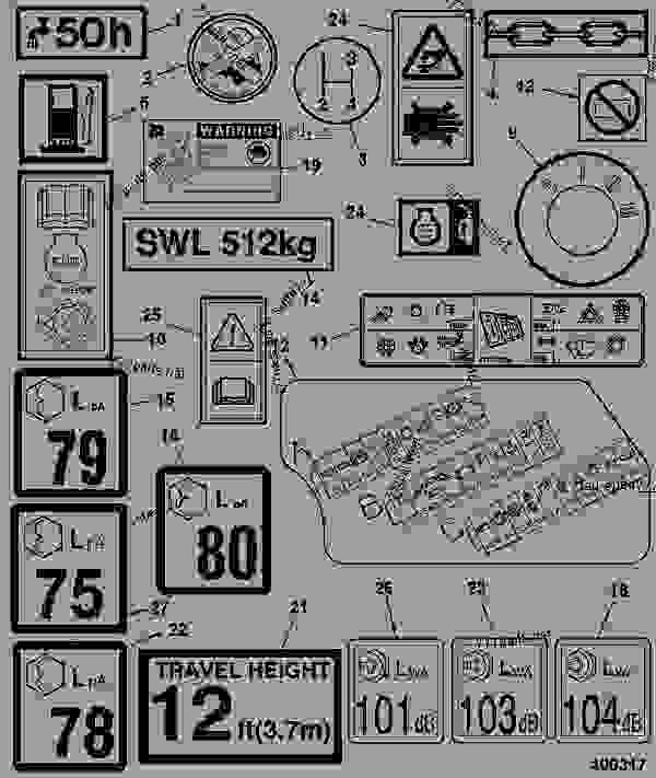 DECALS, NON LANGUAGE, SYMBOLS - CONSTRUCTION JCB 2CX UTILITY