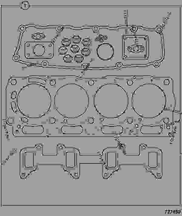 Parts scheme GASKET SET, TOP, RE BUILD - CONSTRUCTION JCB 214e/3C 14-T2 - ECONOMY BACKHOE LOADER (BRAZIL BUILDS), 9802/8720, M1000500- ENGINES 1104C-44/1104C-44T RE, & RG BUILDS TIER 2 GASKET SETS GASKET SET, TOP, RE BUILD | 777parts