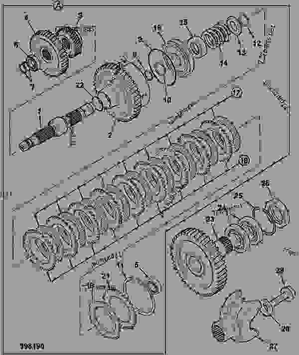 Parts scheme CLUTCH, MAINSHAFT &, COMPONENTS, 4WD, 40KPH 442/00280 4 SPEED - CONSTRUCTION JCB 3CX-4WS PC - REGULAR BACKHOE LOADER SIDESHIFT (SERVO), 9802/9830, M0938430- AXLES, WHEELS & TRANSMISSION TRANSMISSIONS, POWER SHIFT CLUTCH, MAINSHAFT &, COMPONENTS, 4WD, 40KPH 442/00280 4 SPEED | 777parts