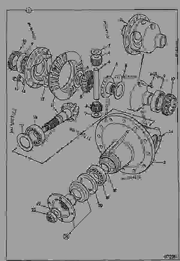 Parts scheme DIFFERENTIAL, ASSEMBLY - CONSTRUCTION JCB 520-4HL - LOADALL 520 M500000 ON, 520M M560153 ON, 9802/7300 STEERING AXLE REAR-4WD DIFFERENTIAL, ASSEMBLY | 777parts