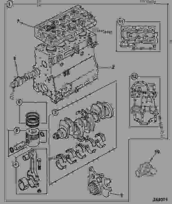 Parts scheme ENGINE, LONG, AA BUILD - CONSTRUCTION JCB .3CX-4 France - REGULAR BACKHOE LOADER (WORLDWIDE), 9802/8550, M337001- ENGINES 1000 SERIES 4-4 & 4-4T ENGINE, BLOCK & SUB-ASSEMBLIES ENGINE, LONG, AA BUILD | 777parts
