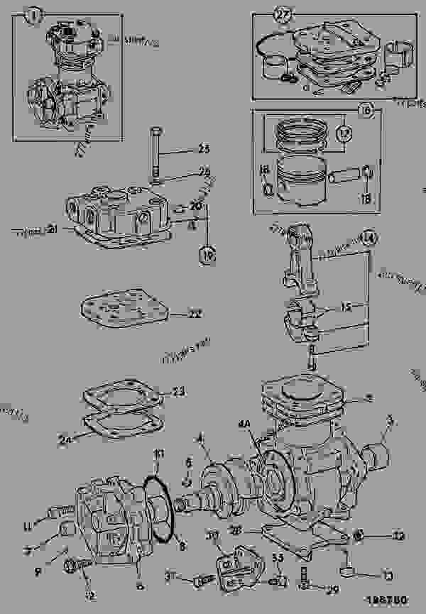 Parts scheme COMPRESSOR, AIR, 229CC - CONSTRUCTION JCB CONTRACTOR 150T - FASTRAC & CONTRACTOR, 9802/6600, M636001- ENGINES 1006-6 & 1006-6T EQUIPMENT, AUXILIARY COMPRESSOR, AIR, 229CC | 777parts