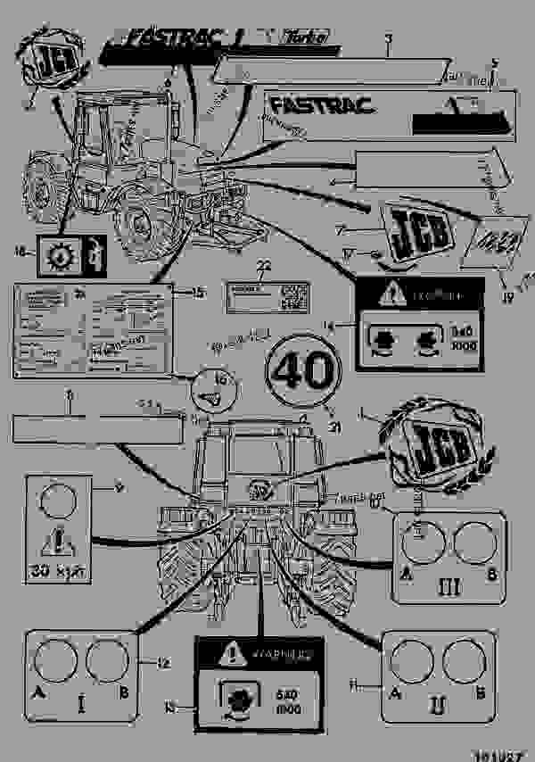 Parts scheme DECALS - AGRICULTURAL JCB FASTRAC 150t-40 - FASTRAC & CONTRACTOR, 9802/6500, M635001- BODYWORK, CAB, LOADER END REFURBISHMENTS DECALS | 777parts