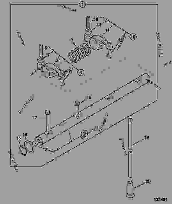 Parts scheme ROCKER ASSEMBLY, PUSH RODS & TAPPETS, RG BUILDS - CONSTRUCTION JCB 3CXSM 4TPC - REGULAR BACKHOE LOADER SIDESHIFT (SERVO), 9802/9830, M0938430- ENGINES 1104C-44/1104C-44T RE, RG BUILDS  TIER 2 CYLINDER HEAD & SUB-ASSEMBLIES ROCKER ASSEMBLY, PUSH RODS & TAPPETS, RG BUILDS | 777parts