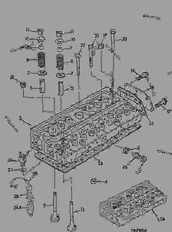 Parts scheme CYLINDER HEAD, AA & AC BUILDS - CONSTRUCTION JCB .3CX-4 France - REGULAR BACKHOE LOADER (WORLDWIDE), 9802/8550, M337001- ENGINES 1000 SERIES 4-4 & 4-4T CYLINDER HEAD & SUB-ASSEMBLIES CYLINDER HEAD, AA & AC BUILDS | 777parts