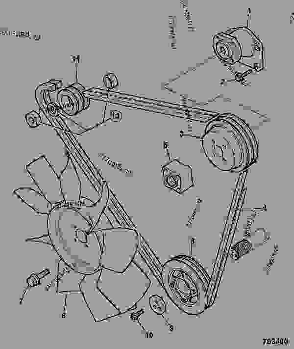 Parts scheme FANS, PULLEYS, & FAN BELT, 2WS, 1.16:1 FAN SPEED, 20FAN, STANDARD - CONSTRUCTION JCB 214-4 MANUAL - REGULAR BACKHOE LOADER , 9802/9800, M0930000- ENGINES    1004-4/1004-4T AR, AK BUILDS, TIER 1 ENGINE BLOCK & SUB-ASSEMBLIES FANS, PULLEYS, & FAN BELT, 2WS, 1.16:1 FAN SPEED, 20FAN, STANDARD | 777parts