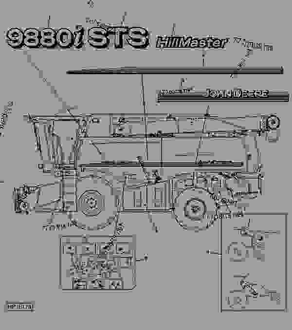 Parts scheme LEFT-HAND DECALS - COMBINE John Deere 9880i STS Hillmaster - COMBINE - 9880i STS Hillmaster Combine (S.N.715801- ) European Edition DECALS LEFT-HAND DECALS | 777parts
