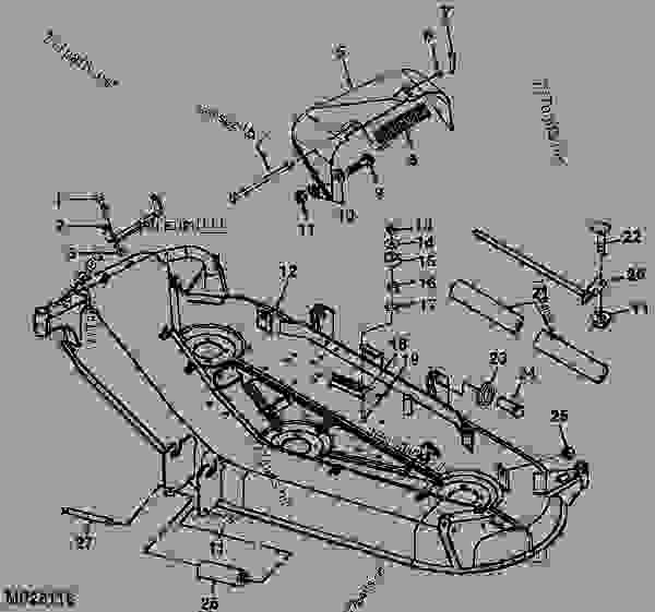 Parts scheme MOWER DECK AND DISCHARGE CHUTE [2] - ATTACHMENT, MID-MOUNT ROTARY MOWER, MOWER DECKS, AND 3-BAG MCS (2210 AND 4X10 SERIES CUTS) John Deere 4310 - ATTACHMENT, MID-MOUNT ROTARY MOWER, MOWER D - 54-in.,54C,60-in.,62C,72-in. Mower Decks for 2210,4010,4110,4115,4210,4310,4410,4510,4610,4710 Compact Utility Tractors 52 72-INCH MOWER DECK (4115 C.U.T.) [52] MOWER DECK AND DISCHARGE CHUTE [2] | 777parts