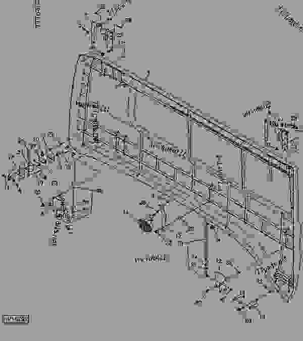 Parts scheme LEFT REAR GULLWING DOOR - COMBINE John Deere 9880i STS Hillmaster - COMBINE - 9880i STS Hillmaster Combine (S.N.715801- ) European Edition BODY AND SHIELDS LEFT REAR GULLWING DOOR | 777parts