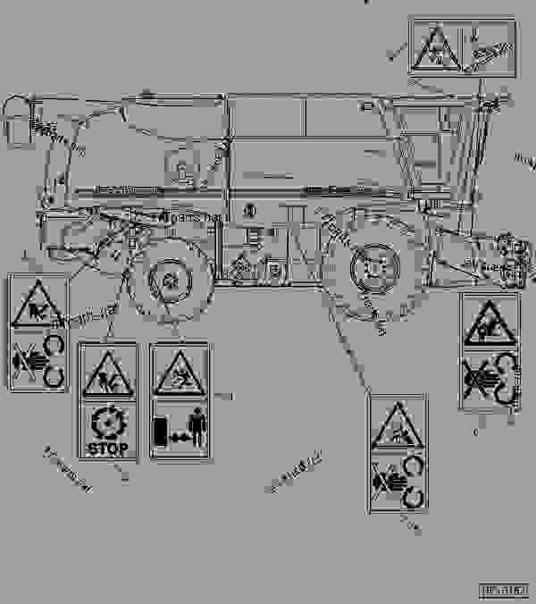 Parts scheme SAFETY DECALS (R.H. SIDE) - COMBINE John Deere 9880i STS Hillmaster - COMBINE - 9880i STS Hillmaster Combine (S.N.715801- ) European Edition DECALS SAFETY DECALS (R.H. SIDE) | 777parts