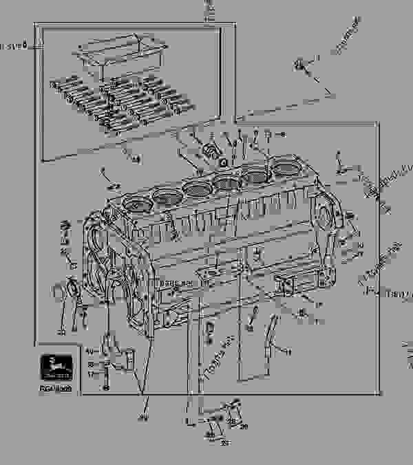 Parts scheme REPLACEMENT CYLINDER BLOCK (WITH HEAD BOLTS) - TRACTOR John Deere 4455 - TRACTOR - 4055, 4255 and 4455 Tractors (North American Edition) ENGINE REPLACEMENT CYLINDER BLOCK (WITH HEAD BOLTS) | 777parts