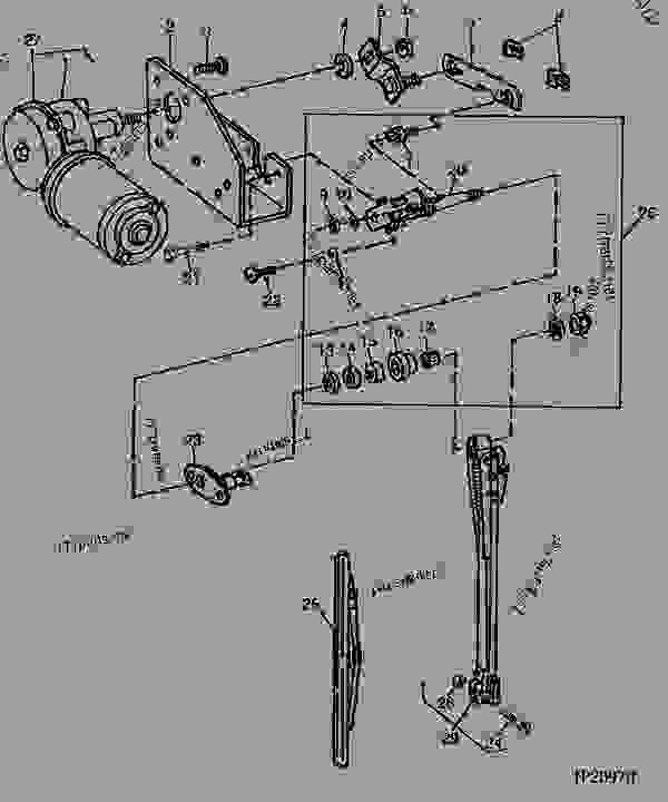 right-hand windshield wiper and motor