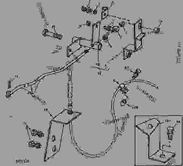6620 John Deere Combine Wiring Diagram : Throttle linkage bell crank and cable supports g