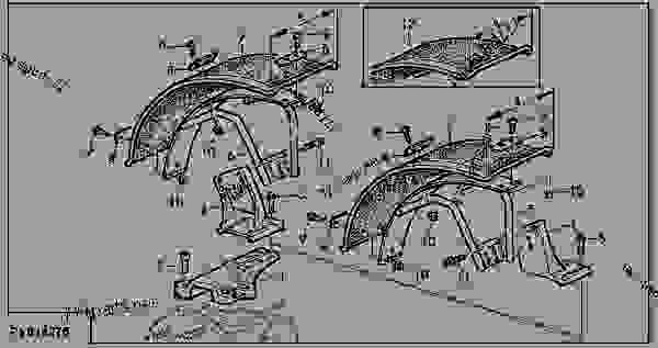 Parts scheme FRONT FENDERS (MFWD, WIDTH 355, 400 AND 410MM) - ENGINE, POWERTECH John Deere 4045TL057 - ENGINE, POWERTECH - 6110L, 6210L, 6310L, 6410L, 6510L Tractors (North American Edition) WHEELS, SHEET METAL, MISCELLANEOUS FRONT FENDERS (MFWD, WIDTH 355, 400 AND 410MM) | 777parts