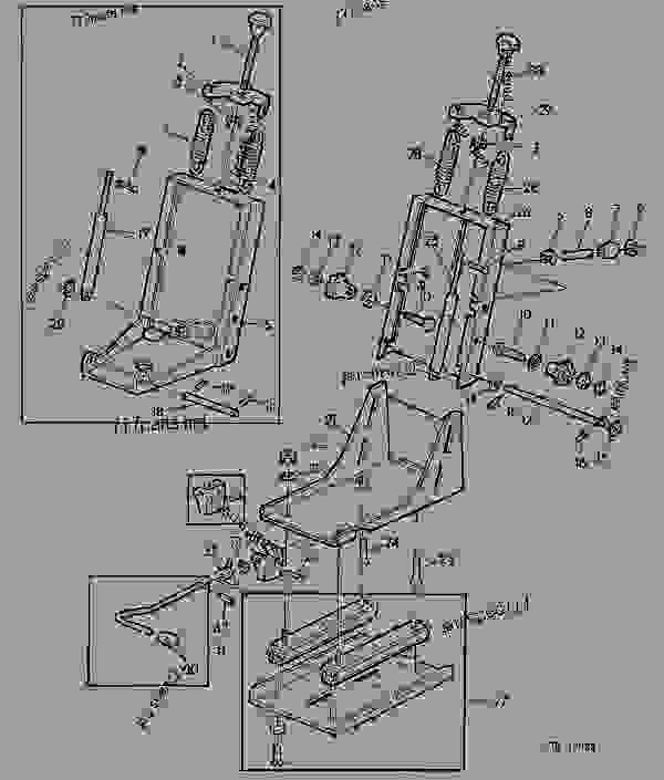 Parts scheme DE-LUXE SEAT WITH ANGLED SUPPORT (INDIVIDUAL PARTS) [02G13] - TRACTOR John Deere 1140F - TRACTOR - 1140F, 1640F, 2040F Tractors 90 OPERATOR'S STATION DE-LUXE SEAT WITH ANGLED SUPPORT (INDIVIDUAL PARTS) [02G13] | 777parts