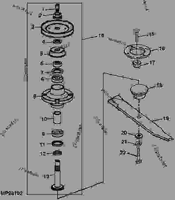 Parts scheme SPINDLES AND BLADES [1] - ATTACHMENT, MID-MOUNT ROTARY MOWER, MOWER DECKS, AND 3-BAG MCS (2210 AND 4X10 SERIES CUTS) John Deere 4310 - ATTACHMENT, MID-MOUNT ROTARY MOWER, MOWER D - 54-in.,54C,60-in.,62C,72-in. Mower Decks for 2210,4010,4110,4115,4210,4310,4410,4510,4610,4710 Compact Utility Tractors 41 60-INCH MOWER DECK (4010 C.U.T.) [41] SPINDLES AND BLADES [1] | 777parts