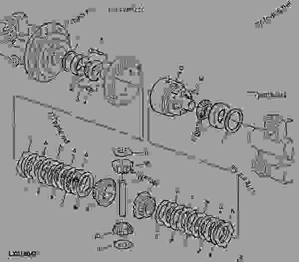 Parts scheme MFWD-Axle Narrow, Multiple Disk Self-Lock. Differential - TRACTOR John Deere SE6110 - TRACTOR - SE6010, SE6110, SE6210, SE6310, SE6410 Tractors (European Edition) FRONT AXLES MFWD-Axle Narrow, Multiple Disk Self-Lock. Differential | 777parts