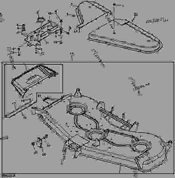 Parts scheme MOWER DECK AND DISCHARGE CHUTE (EXPORT) (DECK SN M00072D) [6] - ATTACHMENT, MID-MOUNT ROTARY MOWER, MOWER DECKS, AND 3-BAG MCS (2210 AND 4X10 SERIES CUTS) John Deere 4310 - ATTACHMENT, MID-MOUNT ROTARY MOWER, MOWER D - 54-in.,54C,60-in.,62C,72-in. Mower Decks for 2210,4010,4110,4115,4210,4310,4410,4510,4610,4710 Compact Utility Tractors 61 72-INCH MOWER DECK (4210, 4310 AND 4410 C.U.T.) [61] MOWER DECK AND DISCHARGE CHUTE (EXPORT) (DECK SN M00072D) [6] | 777parts