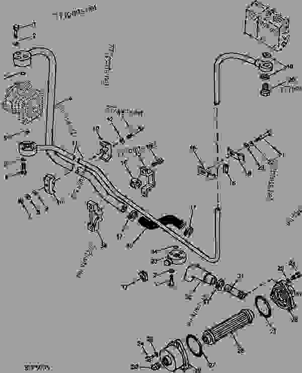 John Deere 850 Parts : Hydraulic lines b tractor compact utility