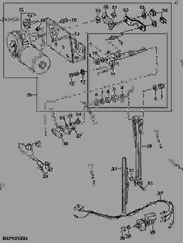 rxp021392______un29nov95 right hand windshield wiper and motor (wiper motor no re56380 john deere 4440 light wiring diagram at panicattacktreatment.co